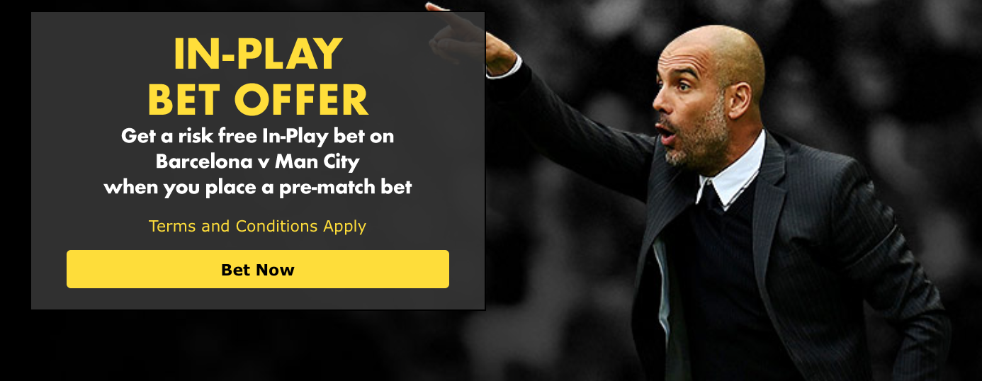 Barcelona vs Man City Bet365 In-Play offer
