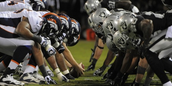 Dec 6, 2012; Oakland, CA, USA; General view of the line of scrimmage between the Oakland Raiders and the Denver Broncos during the third quarter at O.co Coliseum. The Broncos defeated the Raiders 26-13. Mandatory Credit: Kyle Terada-USA TODAY Sports