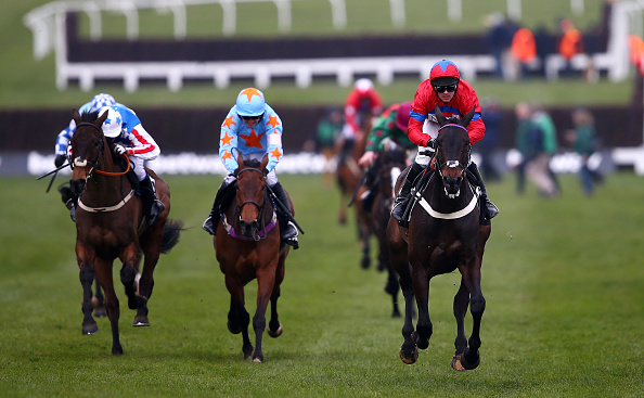 CHELTENHAM, ENGLAND - MARCH 16:  Sprinter Sacre ridden by Nico de Boinville (r) on way to winning the Betway Queen Mother Champion Chase during Ladies Day of the Cheltenham Festival at Cheltenham Racecourse on March 16, 2016 in Cheltenham, England.  (Photo by Michael Steele/Getty Images)