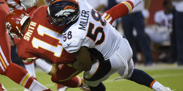 Denver Broncos linebacker Von Miller (58) sacks Kansas City Chiefs quarterback Alex Smith (11) during the first half of an NFL football game in Kansas City, Mo., Thursday, Sept. 17, 2015. (AP Photo/Ed Zurga)