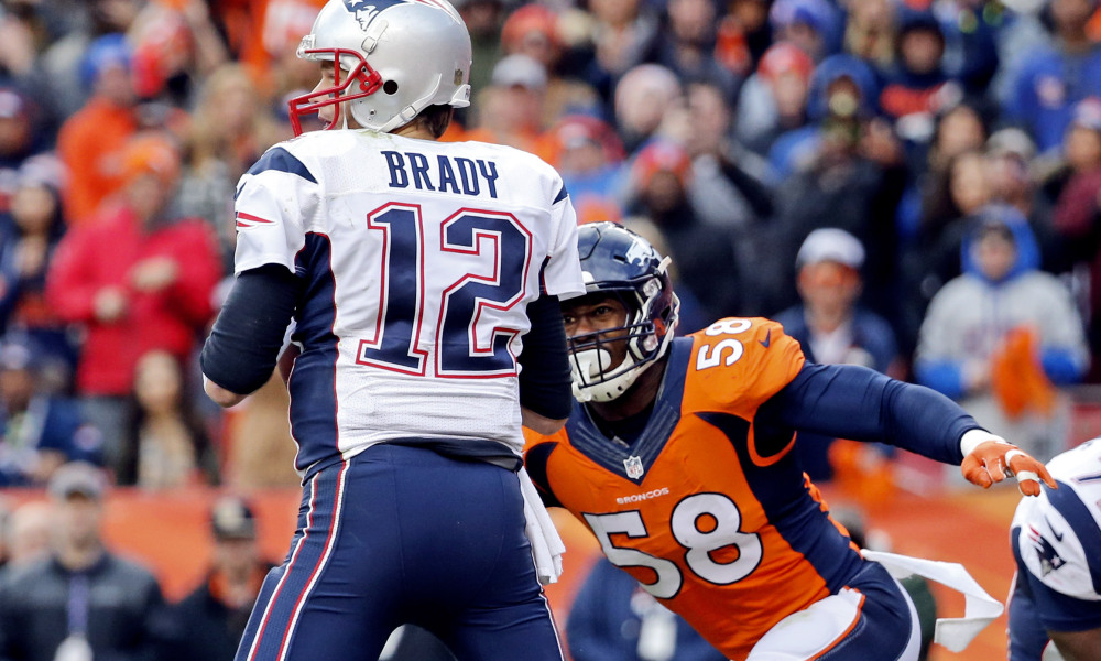 Jan 24, 2016; Denver, CO, USA; Denver Broncos outside linebacker Von Miller (58) sacks New England Patriots quarterback Tom Brady (12) during the game in the AFC Championship football game at Sports Authority Field at Mile High. Mandatory Credit: Kevin Jairaj-USA TODAY Sports